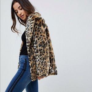 Jackets & Blazers - Asos leopard cheetah print fur coat
